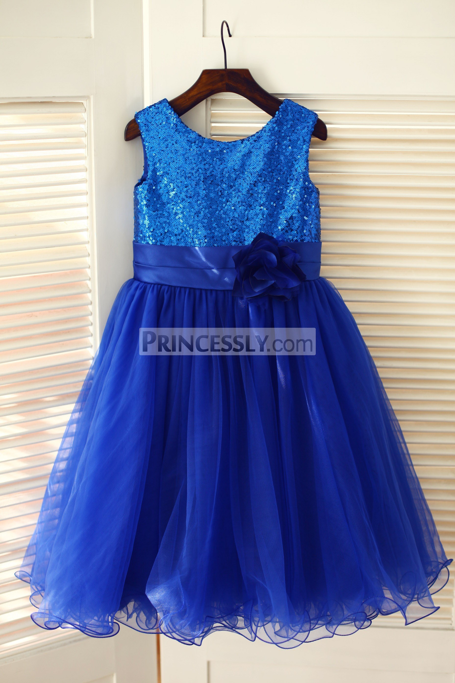 Blue sequins tulle wedding baby girl dress with belt and flower
