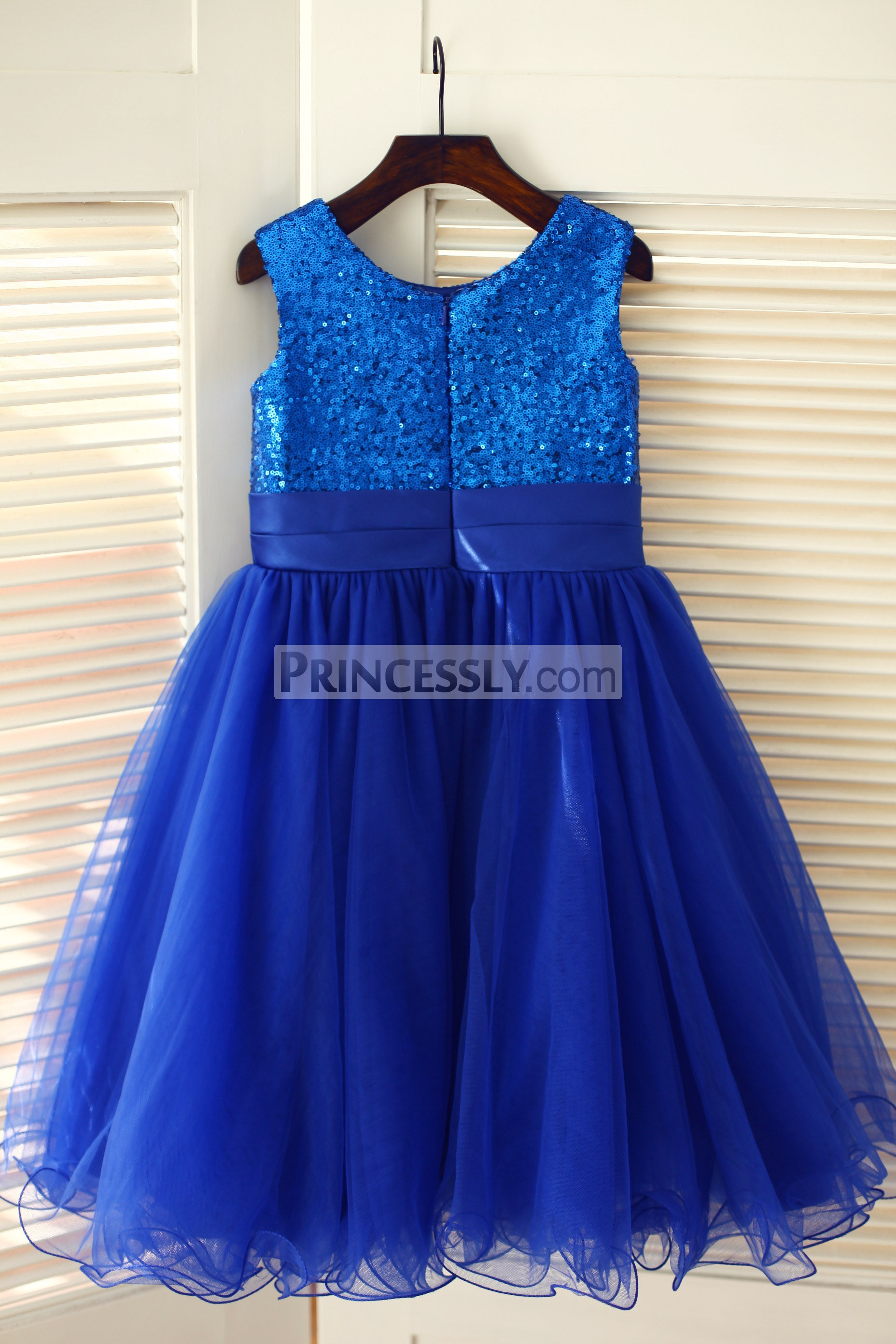 Blue sequin tulle wedding baby girl dress