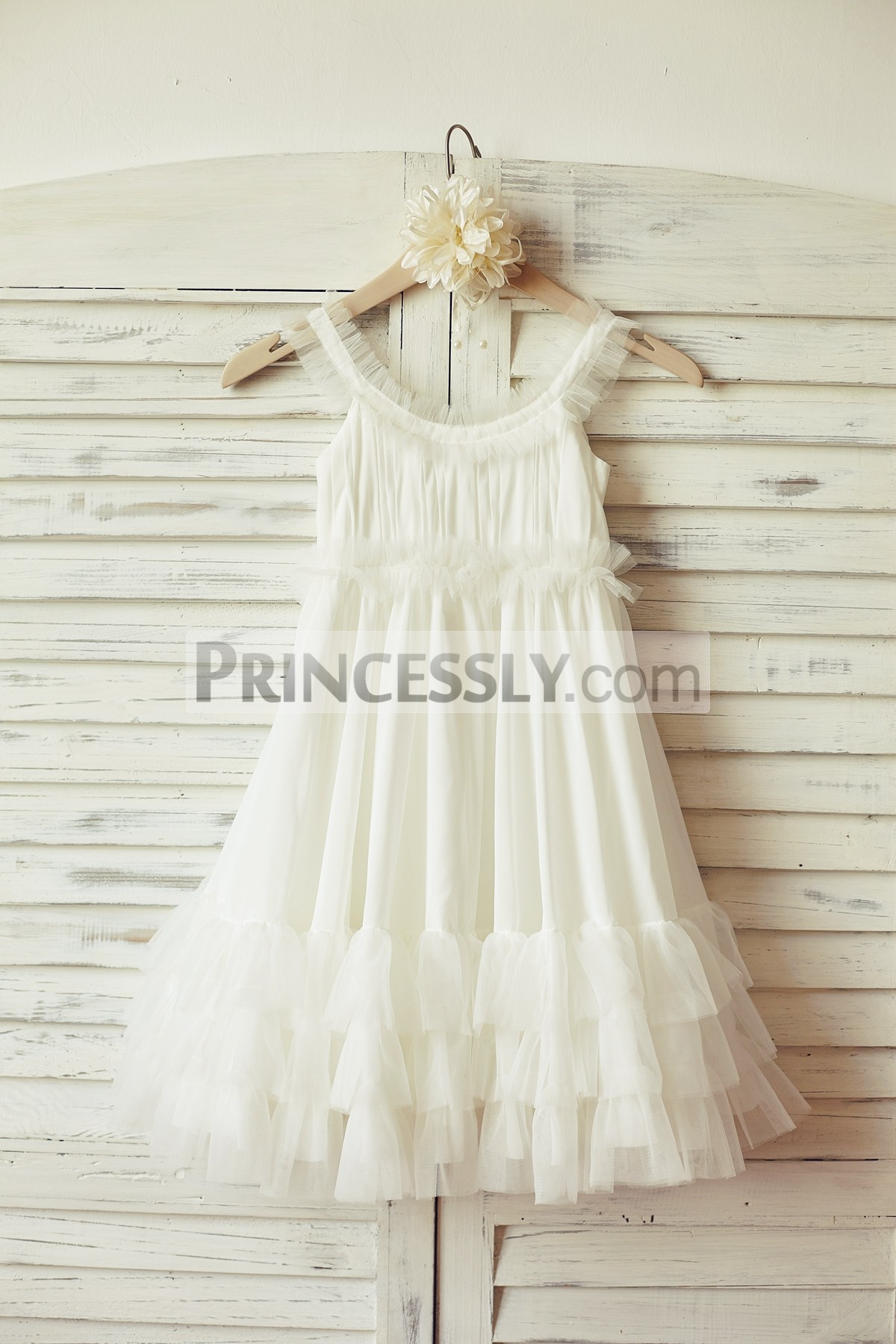 a615b6fe0 Boho Beach Ivory Chiffon Tulle Wedding Flower Girl Dress | Avivaly
