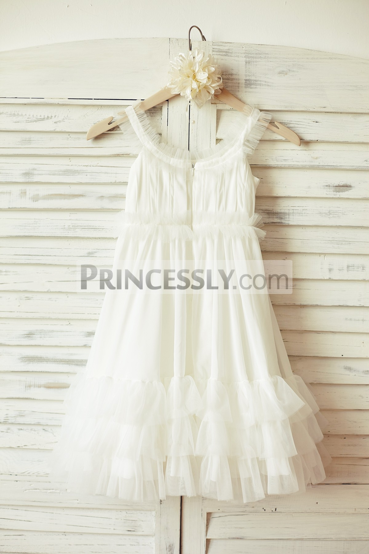 Ivory chiffon wedding baby girl dress with ivory tulle ruffles