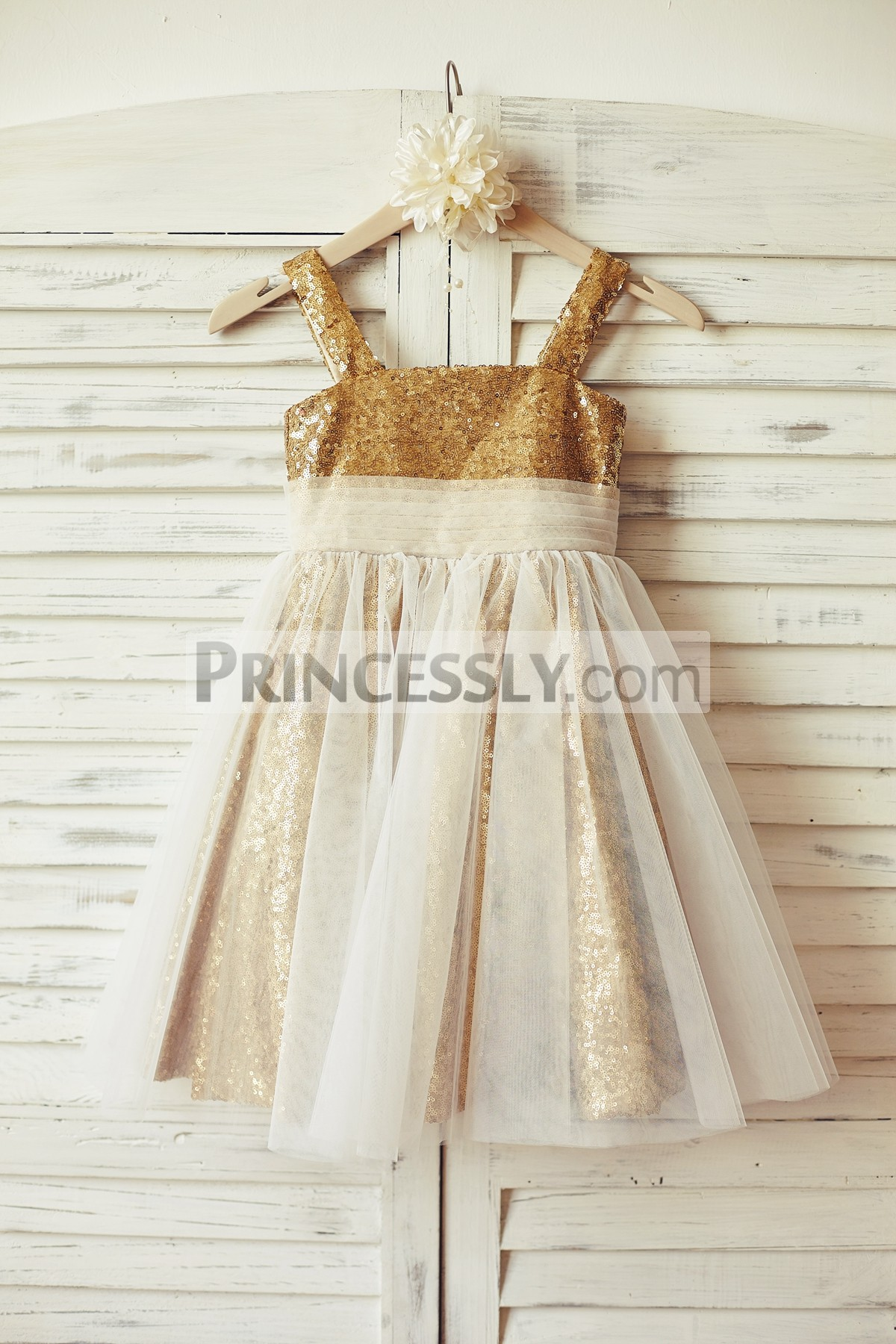 c522749494f Thin Straps Gold Sequin Flower Girl Dress with Ivory Tulle Overlay ...