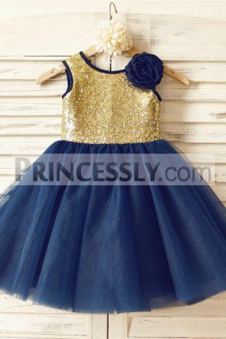 Tutu skirt product tags avivaly gold sequin navy blue tulle tutu flower girl dress with handmade flower mightylinksfo