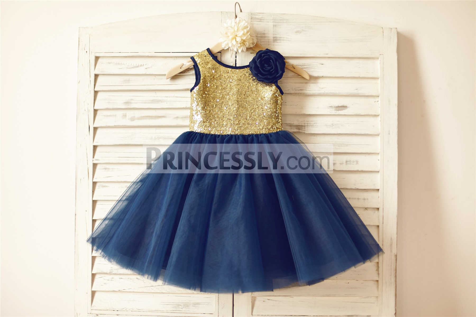 05030a125 Gold Sequin Navy Blue Tulle TUTU Flower Girl Dress with Handmade ...
