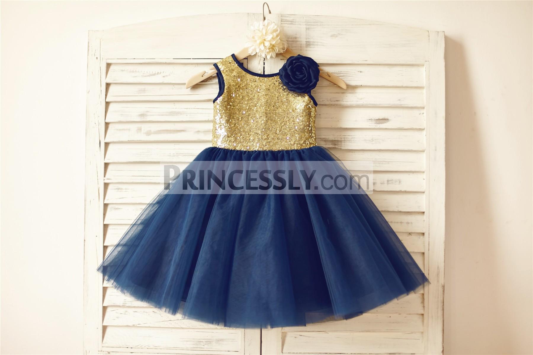 Gold sequins navy blue tulle TUTU skirt flower girl dress