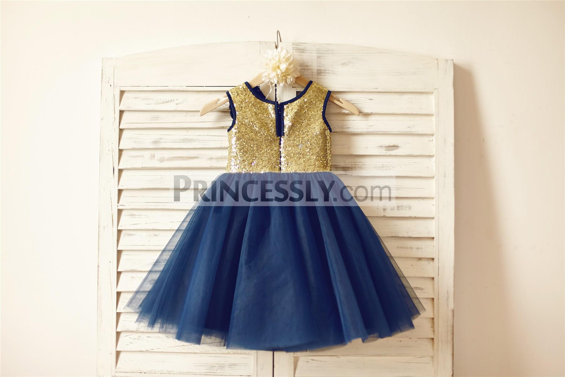 Gold sequins navy blue tulle skirt wedding baby girl dress