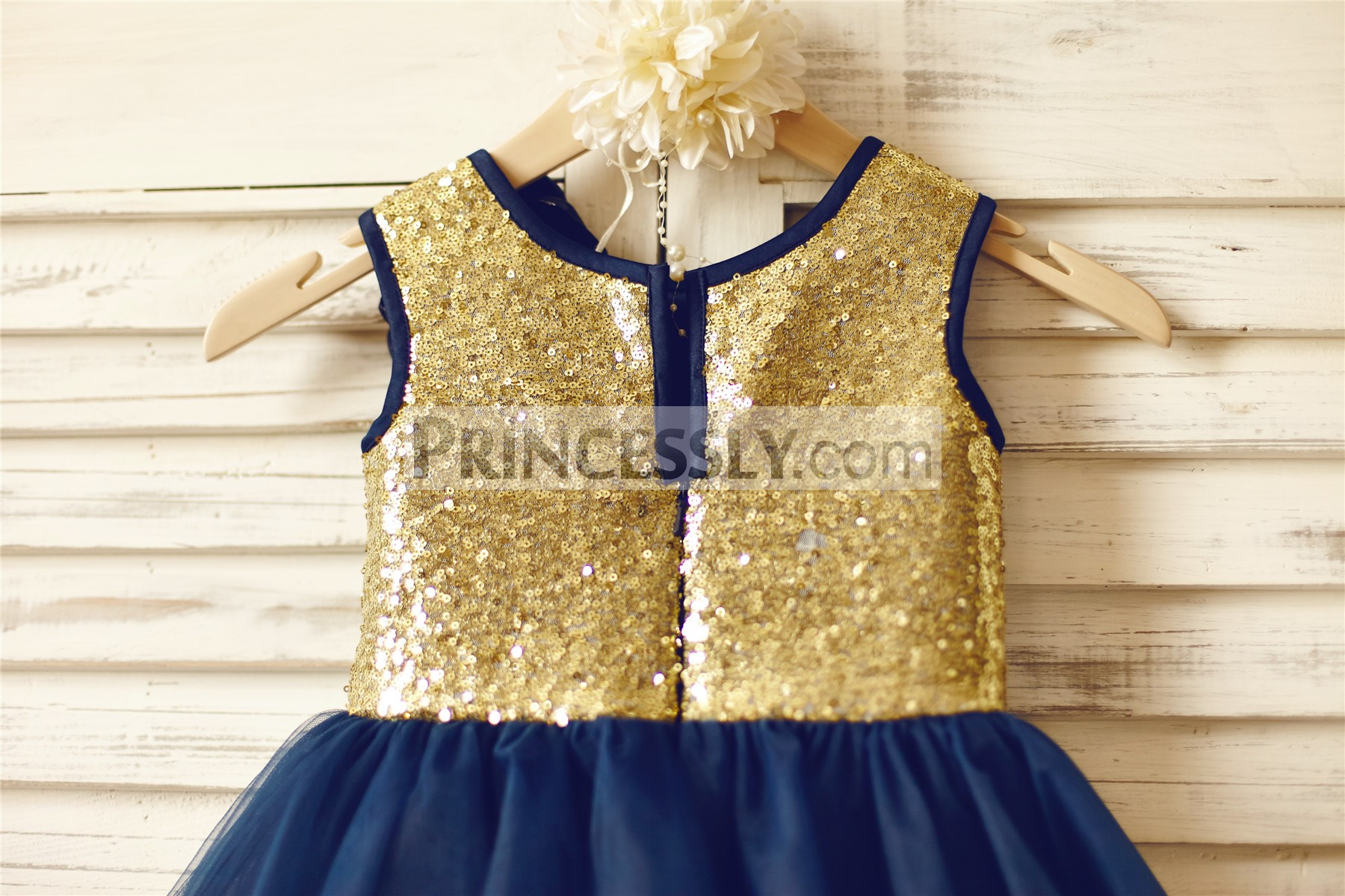 Gold sequined bodice