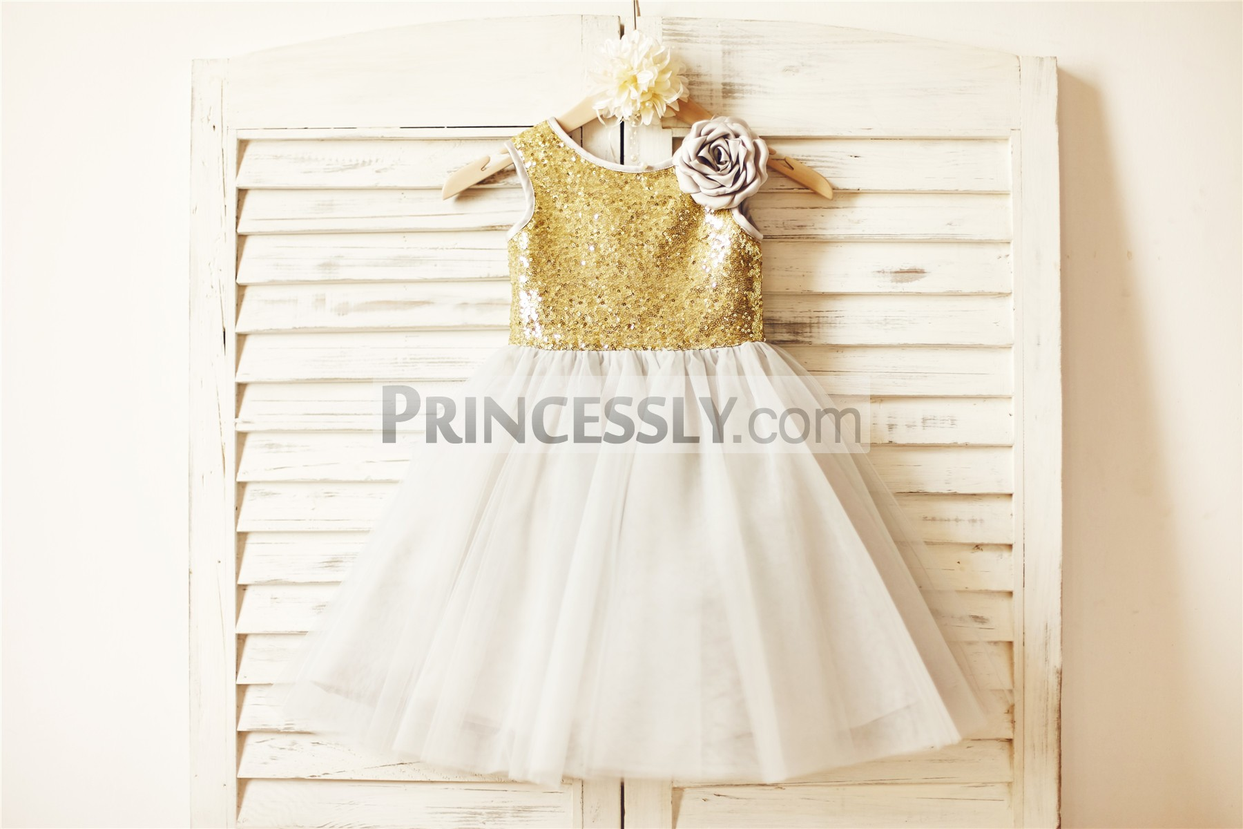 Gold sequins champagne tulle wedding baby girl dress