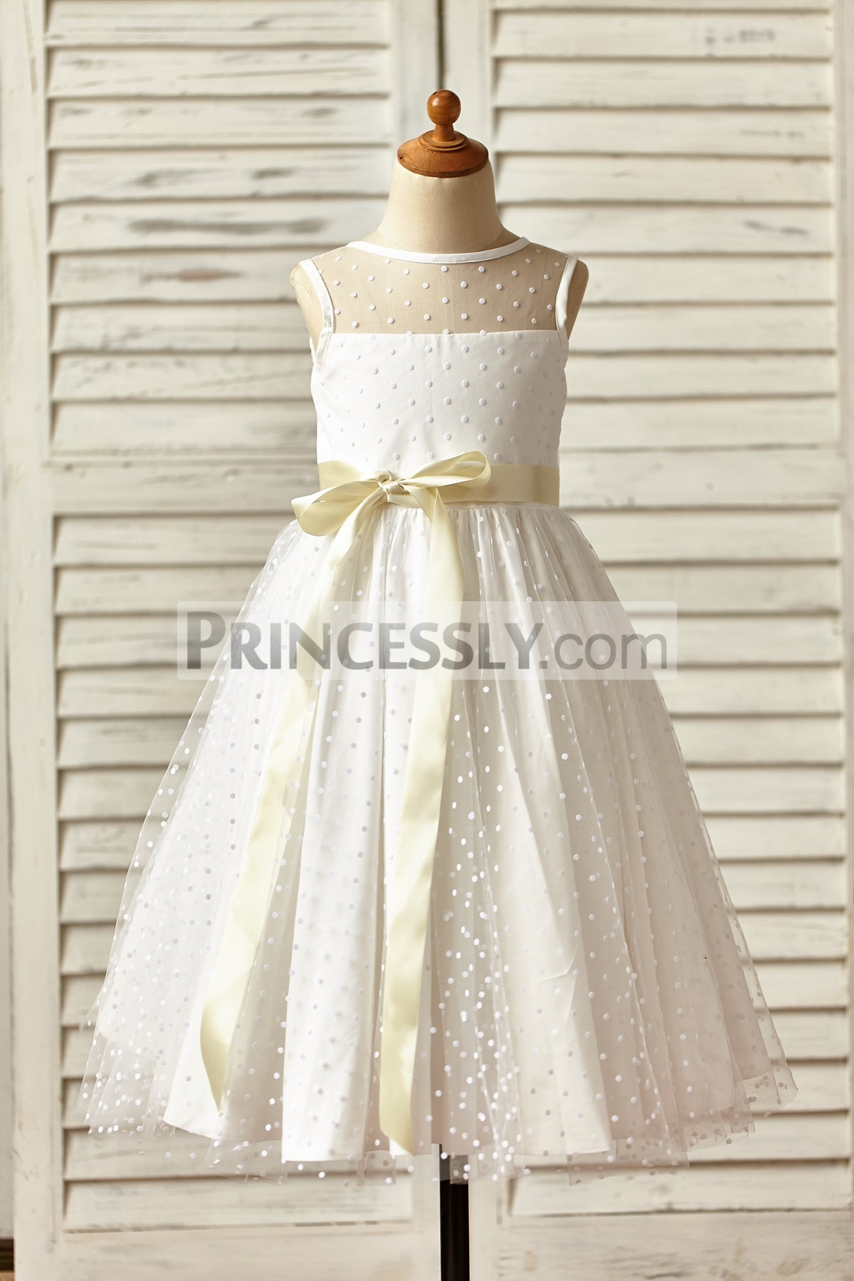Sheer neck polka dots tulle wedding flower girl dress