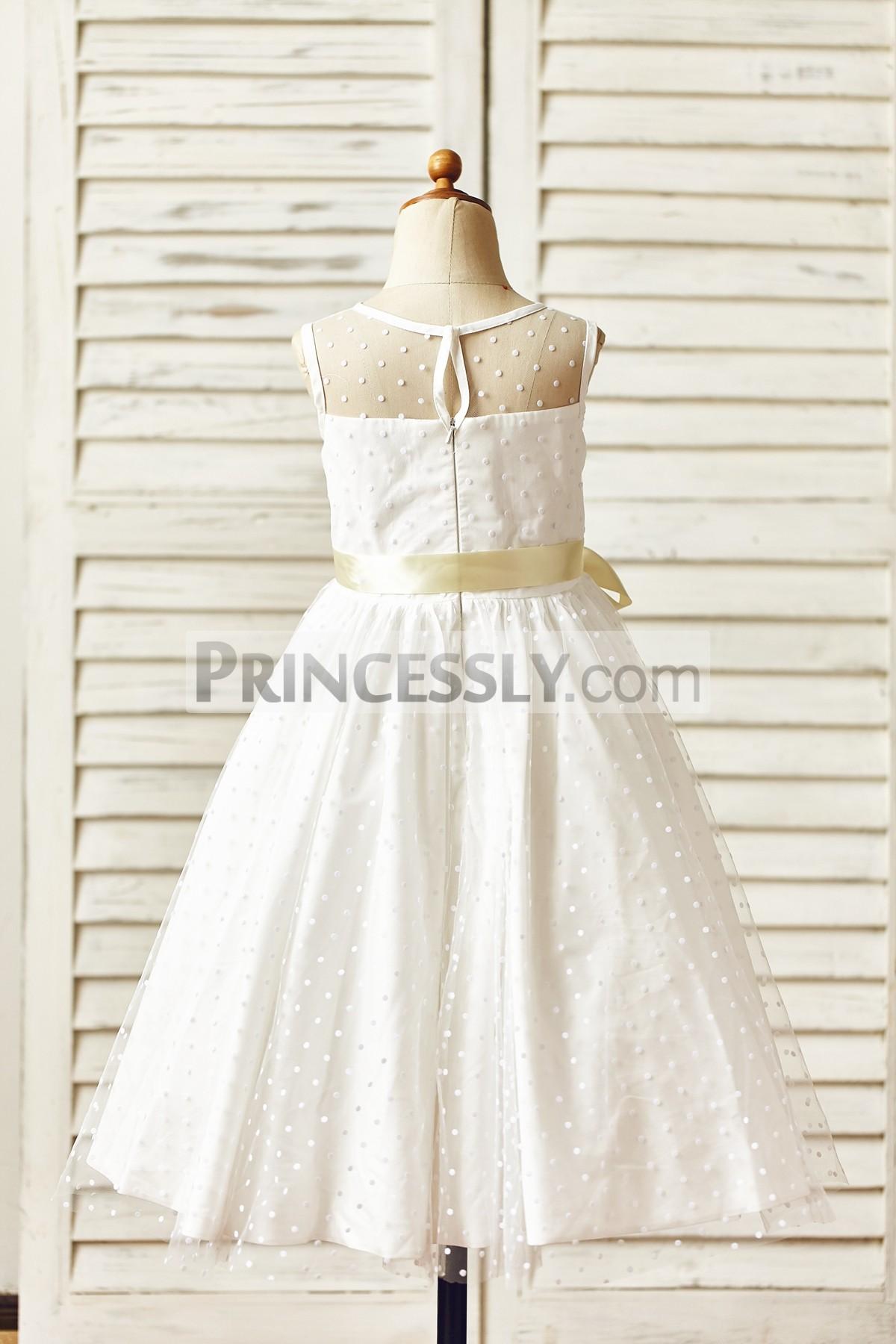 Keyhole hidden zipper back wedding baby girl dress