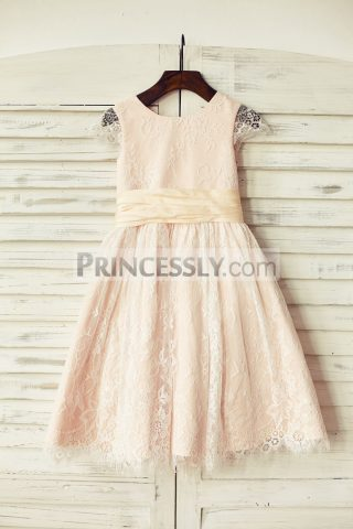 Princessly.com-K1000190-Blush-Pink-Satin-Ivory-Lace-Cap-Sleeves-Flower-Girl-Dress-with-peach-sash-31