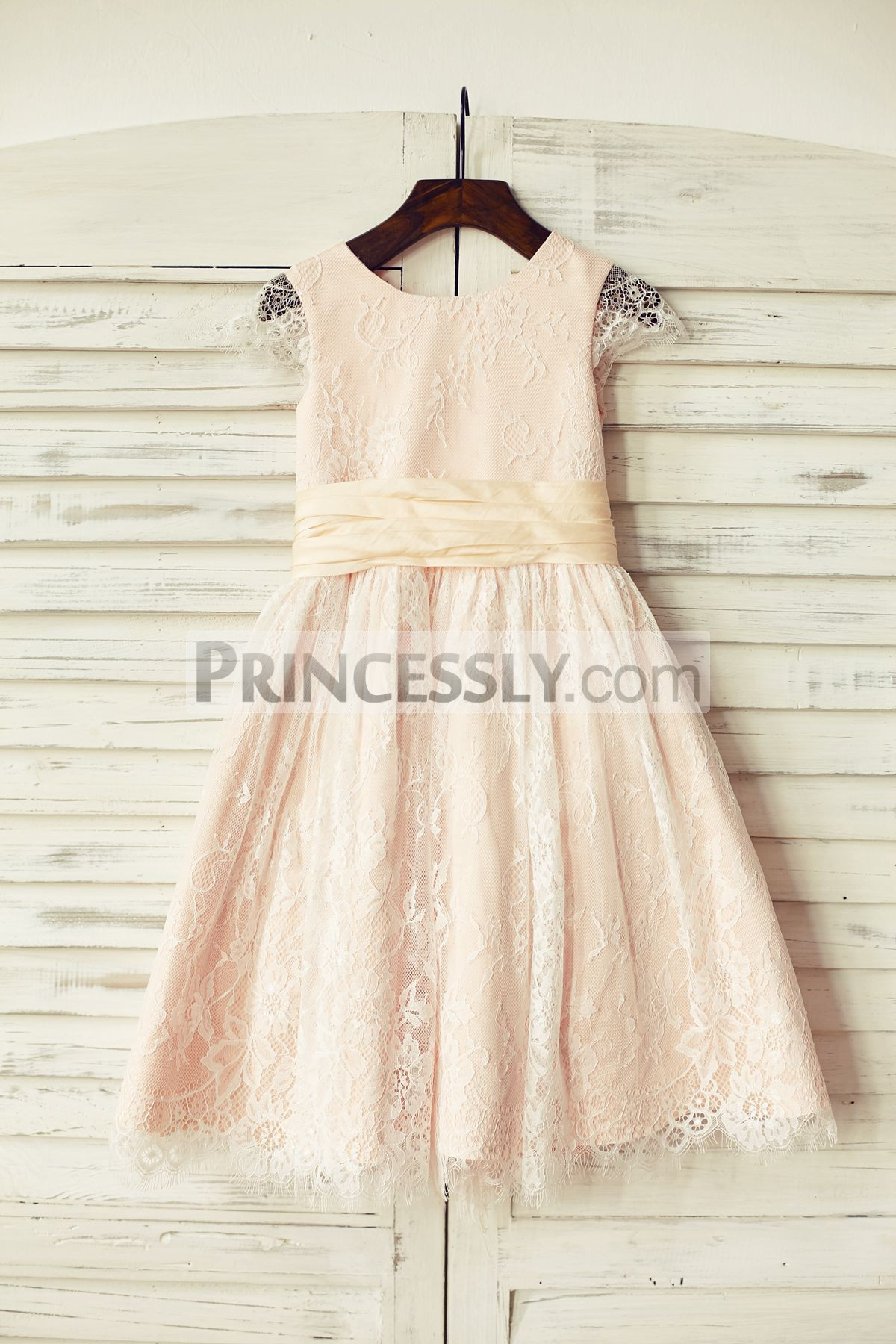 84319e68516 Blush Pink Satin Ivory Lace Cap Sleeves Flower Girl Dress with peach ...