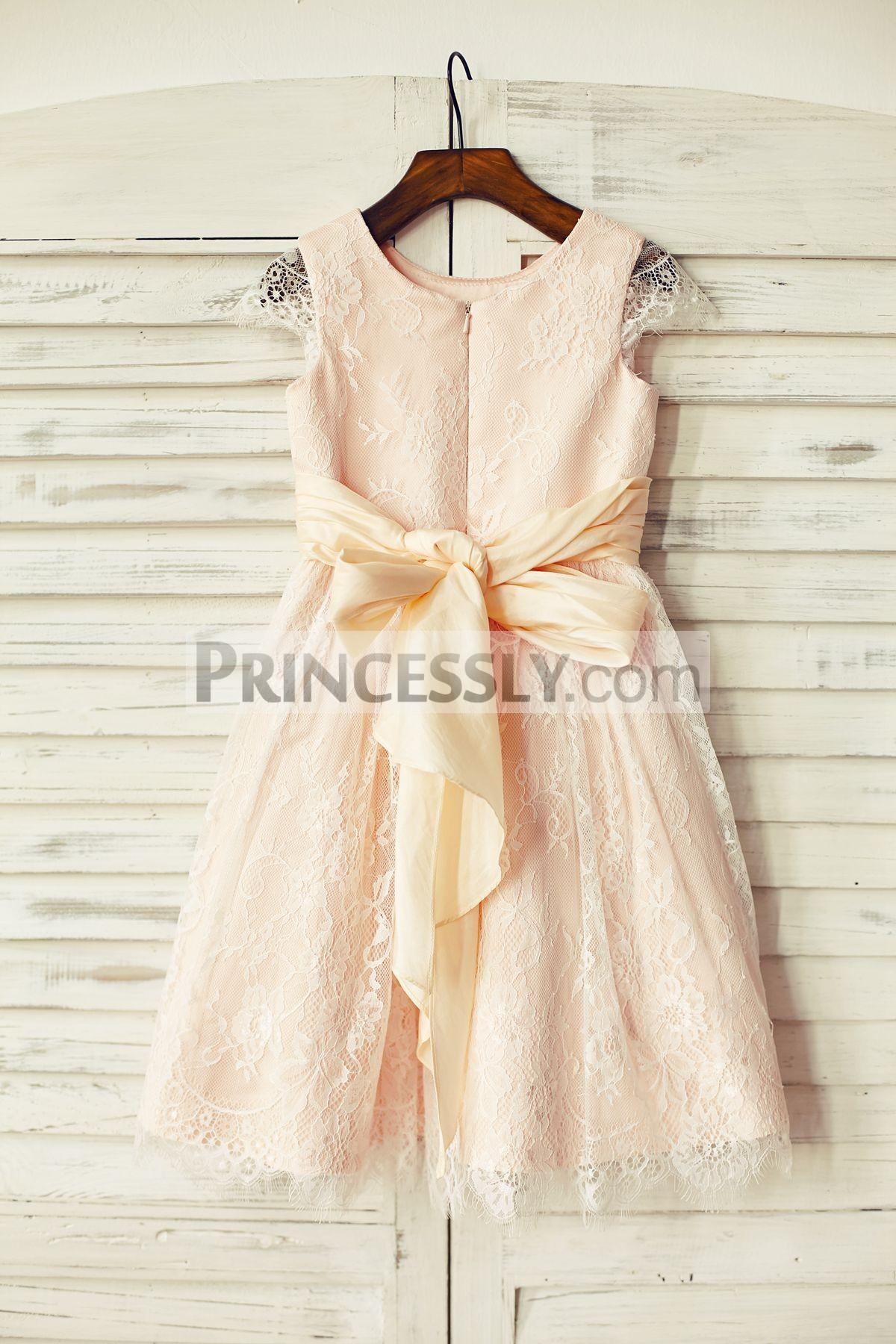 Hidden zipper back wedding little girl dress with sash