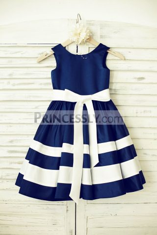 Princessly.com-K1000195-Navy-Blue-Satin-Ivory-Stripe-Flower-Girl-Dress-31