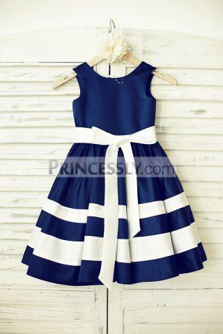 Princessly.com-K1000195-Navy-Blue-Satin-Ivory-Stripe-Flower-Girl-Dress-31