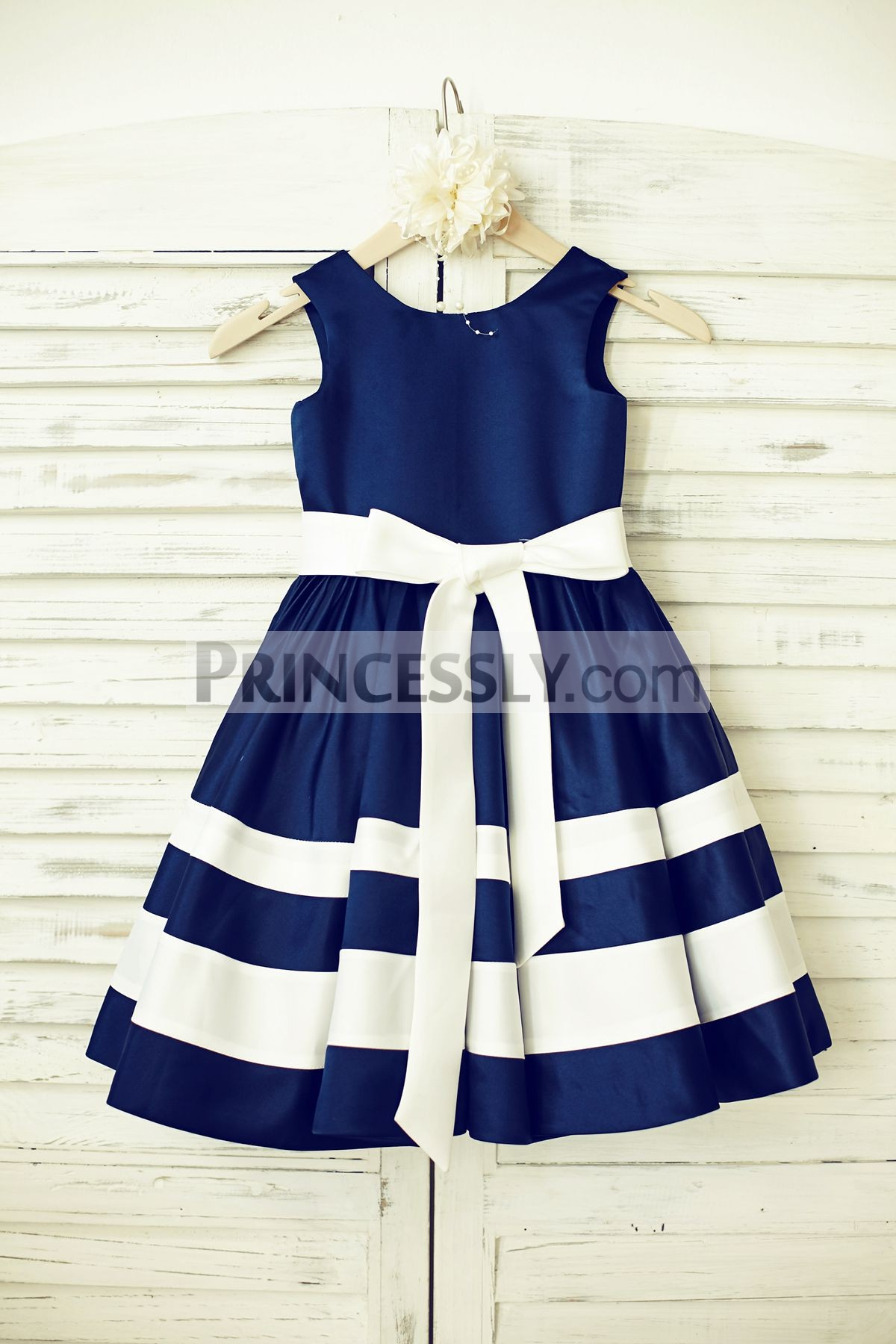 Navy Blue Satin Ivory Stripe Flower Girl Dress With Sash Avivaly