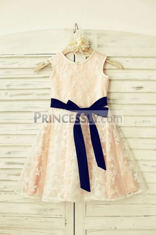 Princessly.com-K1000206-Lace-Flower-Girl-Dress-with-navy-blue-sash-Blush-Pink-Lining-31