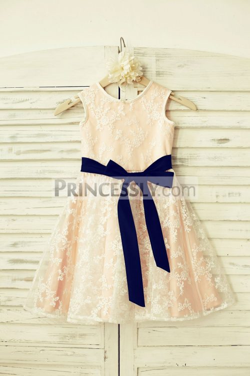 sheer lace flower girl dress with blush pink lining amp navy