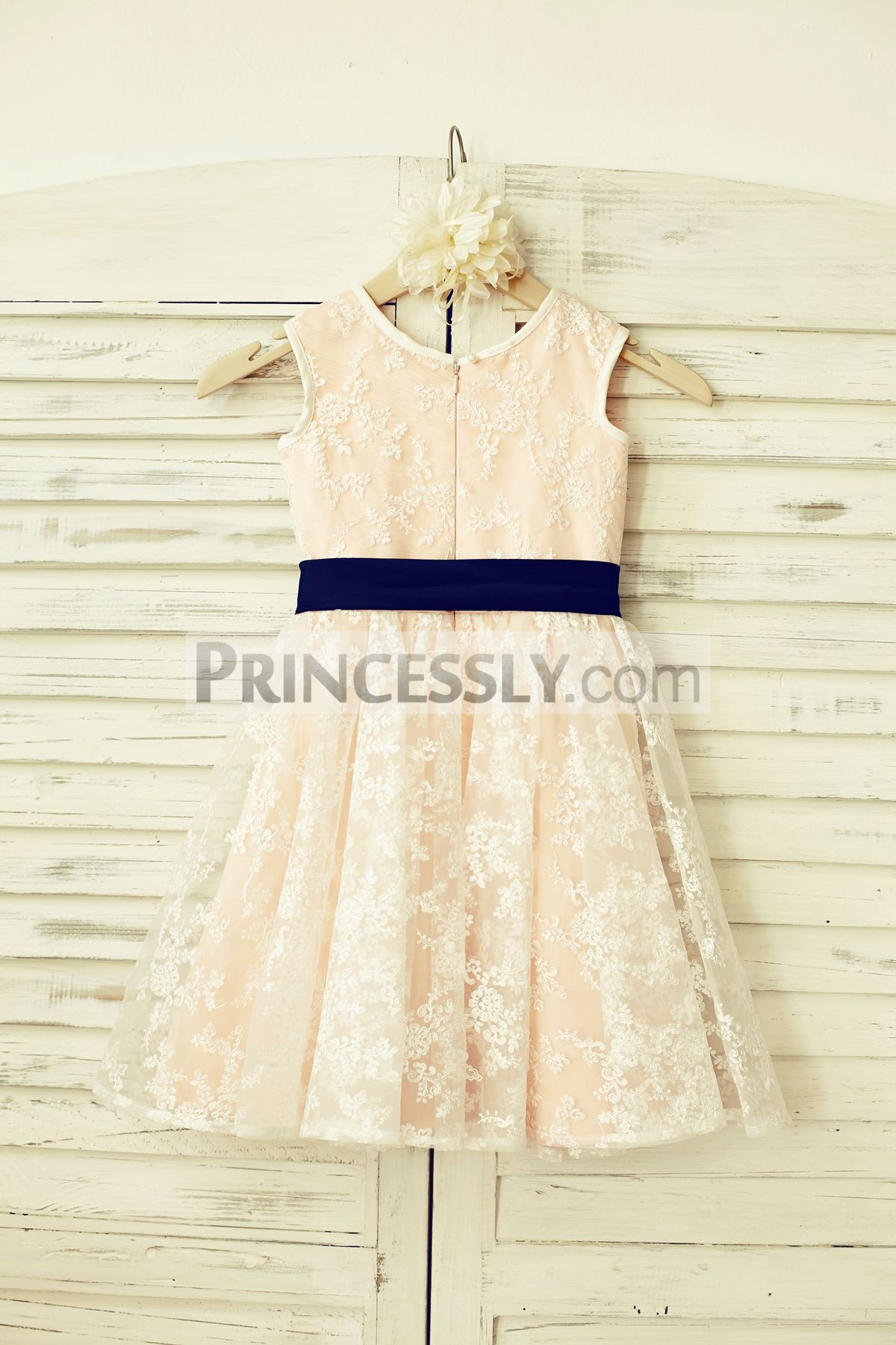 Sheer Lace Flower Girl Dress With Blush Pink Lining Navy Blue Sash