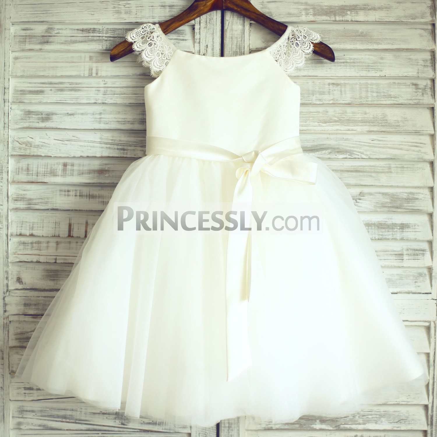 Lace cap sleeves ivory satin tulle flower girl dress
