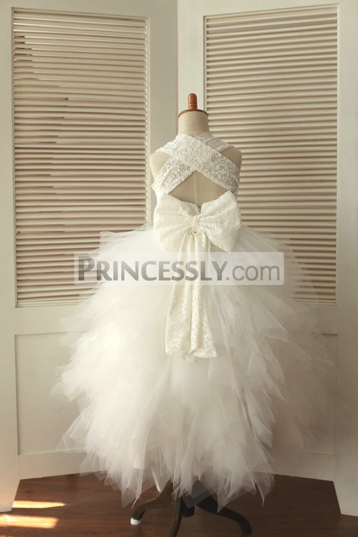 Backless Ivory Lace Feathered Tulle Skirt Flower Girl ...