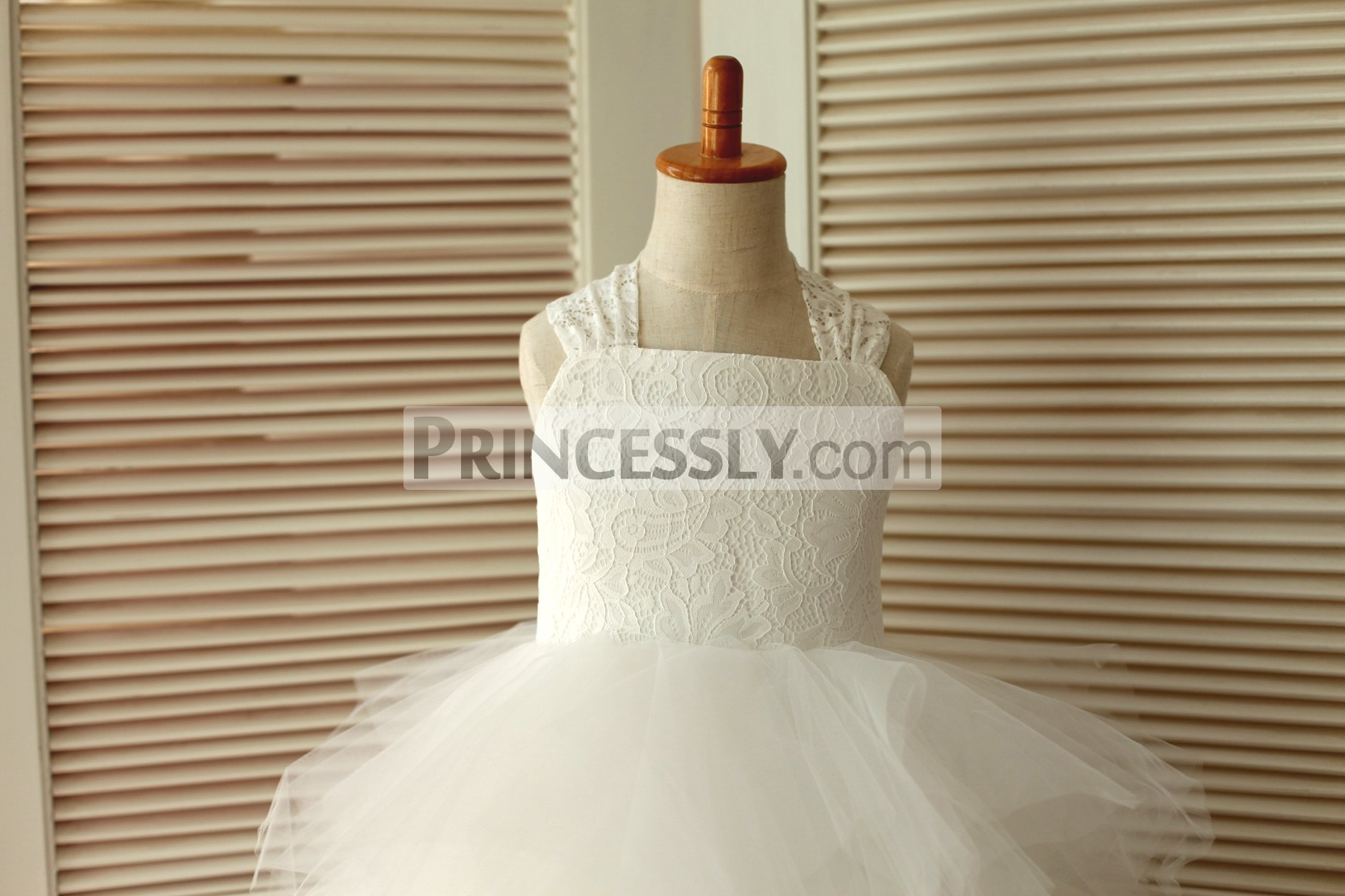 3c33780b430 Backless Ivory Lace Feathered Tulle Skirt Flower Girl Dress with Big Bow