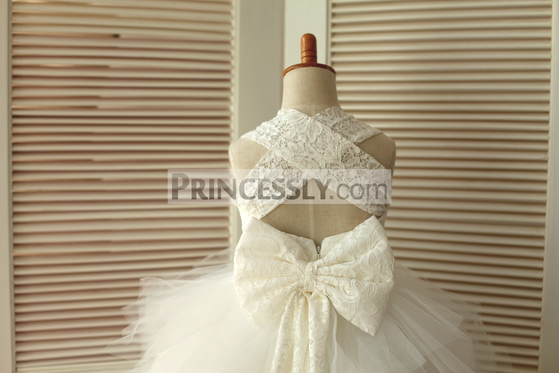 Backless Ivory Lace Feathered Tulle Skirt Flower Girl Dress with Big Bow