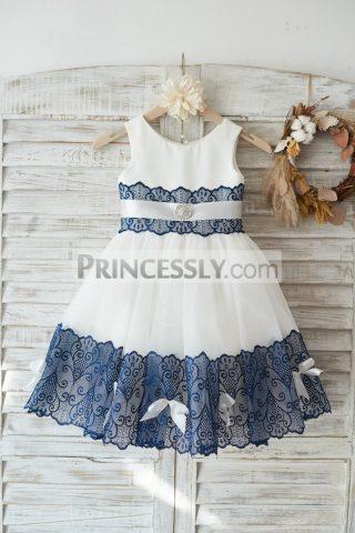 Princessly.com-K1003444-Ivory-Satin-Tulle-Wedding-Flower-Girl-Dress-with-Navy-Blue-Lace-Bow-Belt-31