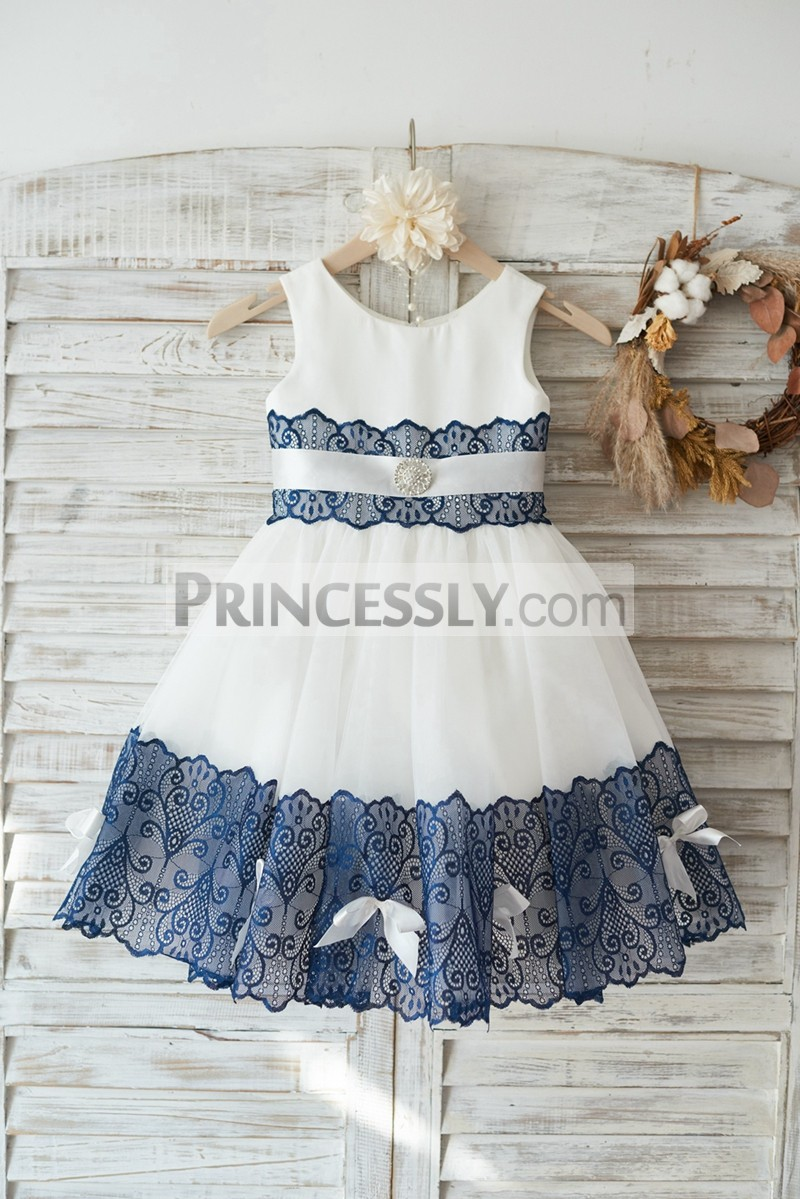 Ivory satin tulle navy blue lace wedding flower girl dress for Blue sash for wedding dress