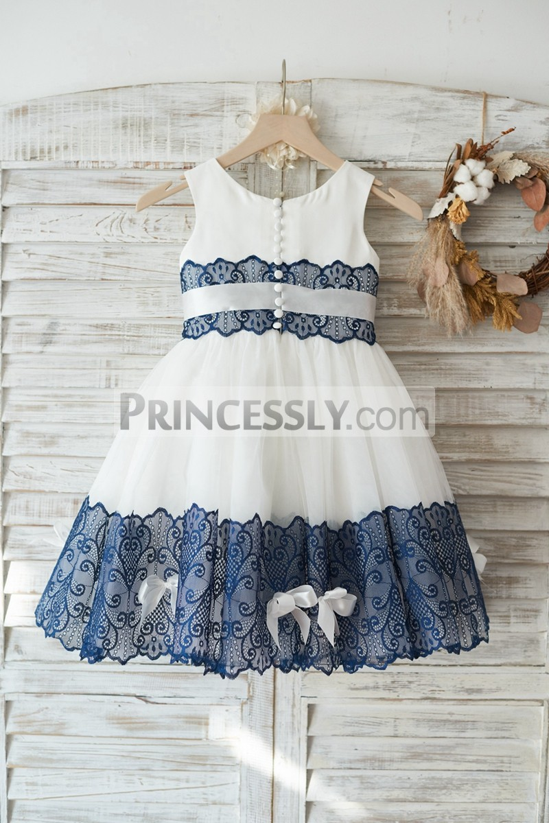 Ivory Satin Tulle Navy Blue Lace Wedding Flower Girl Dress