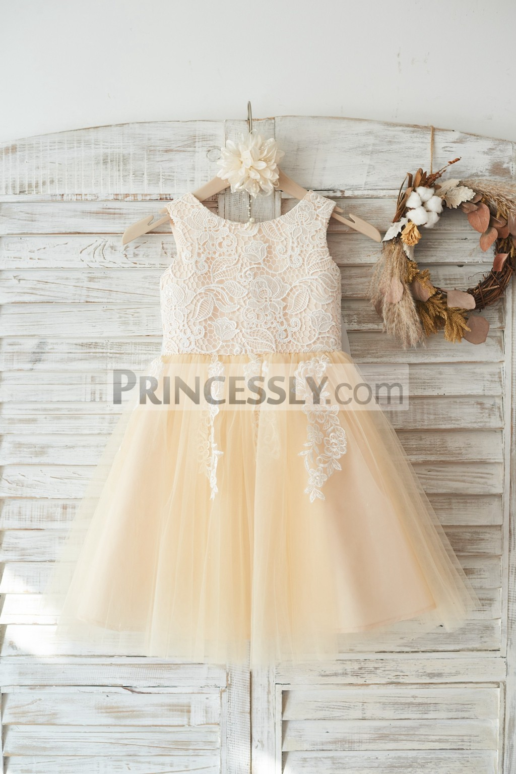 Ivory lace champagne tulle wedding flower girl dress with for Ivory champagne wedding dress