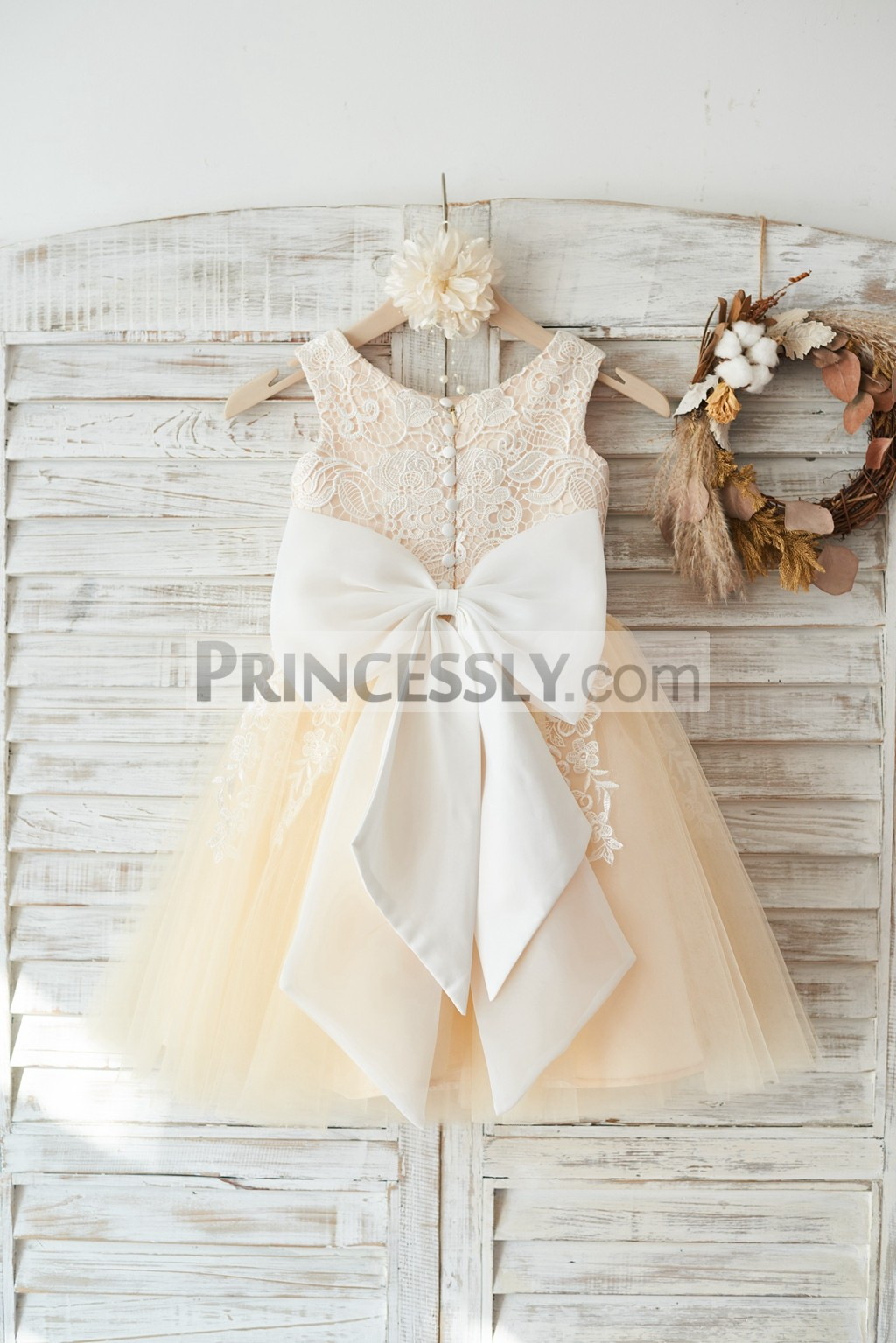 538f8b815 Lace tulle wedding baby girl dress with big bow and buttons. Scoop neckline  sleeveless ivory floral ...