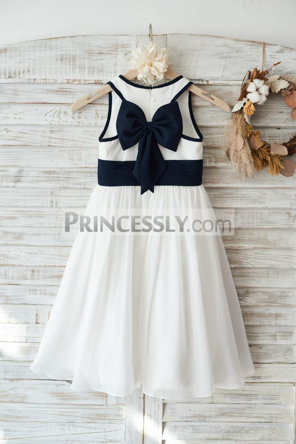 Ivory chiffon wedding flower girl dress junior bridesmaid for Girls dresses for a wedding