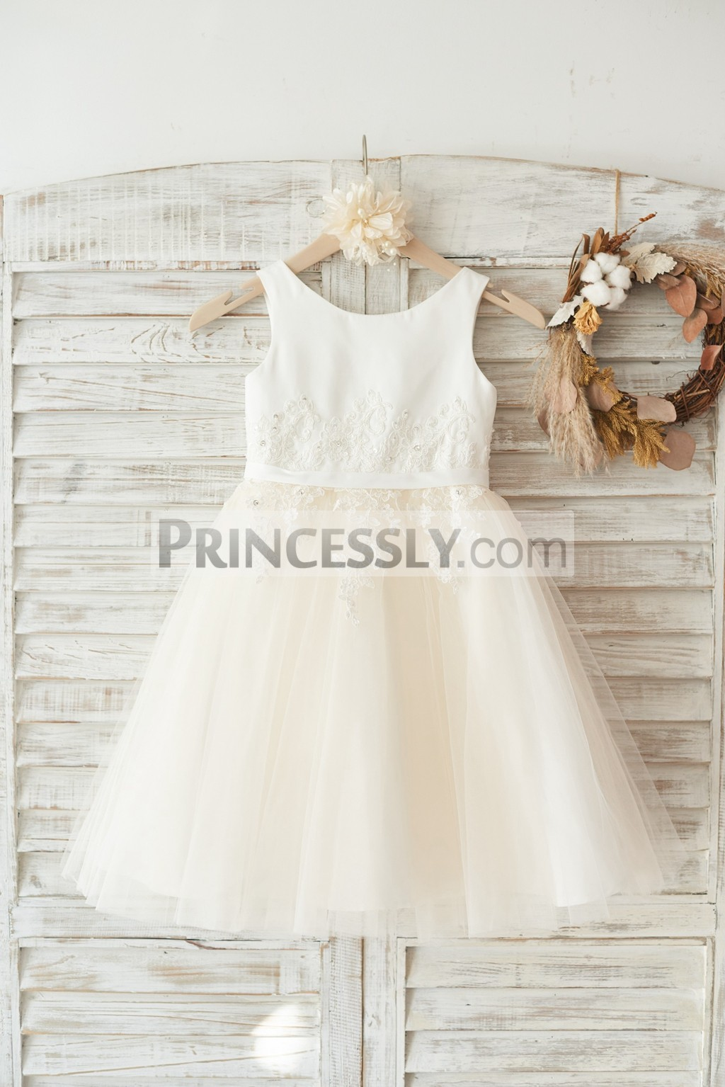 Ivory satin champagne tulle flower girl dress with beaded ivory lace appliques