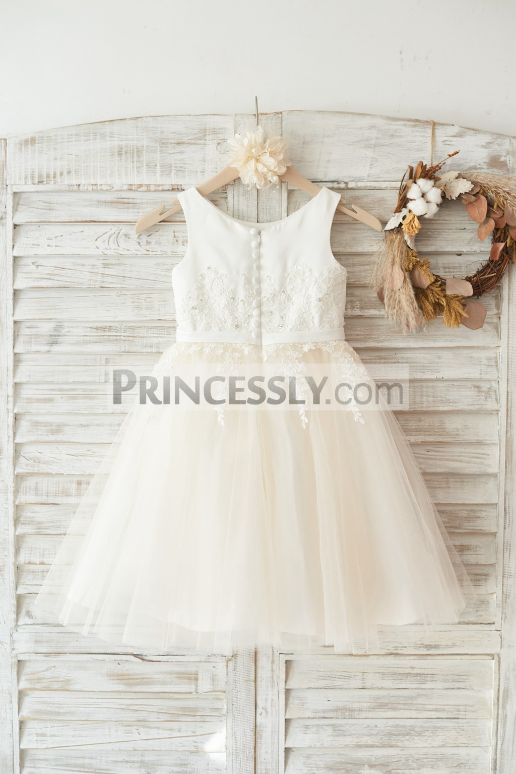 Ivory Satin Champagne Tulle Flower Girl Dress With Ivory