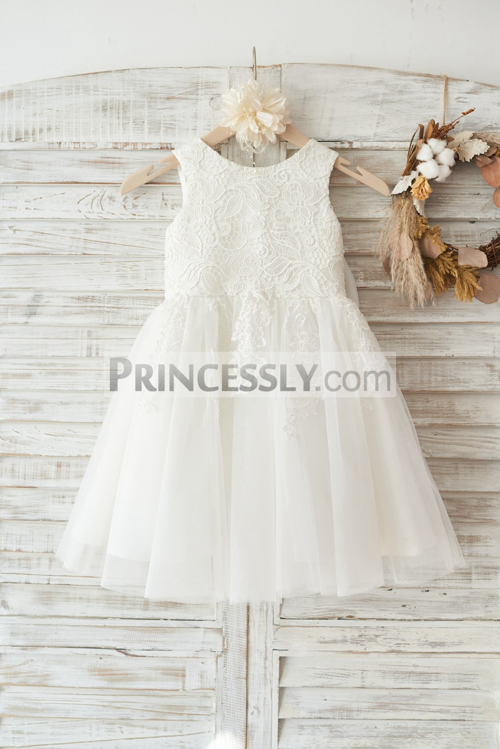 Ivory Lace Tulle Wedding Flower Girl Dress with Big Bow ...