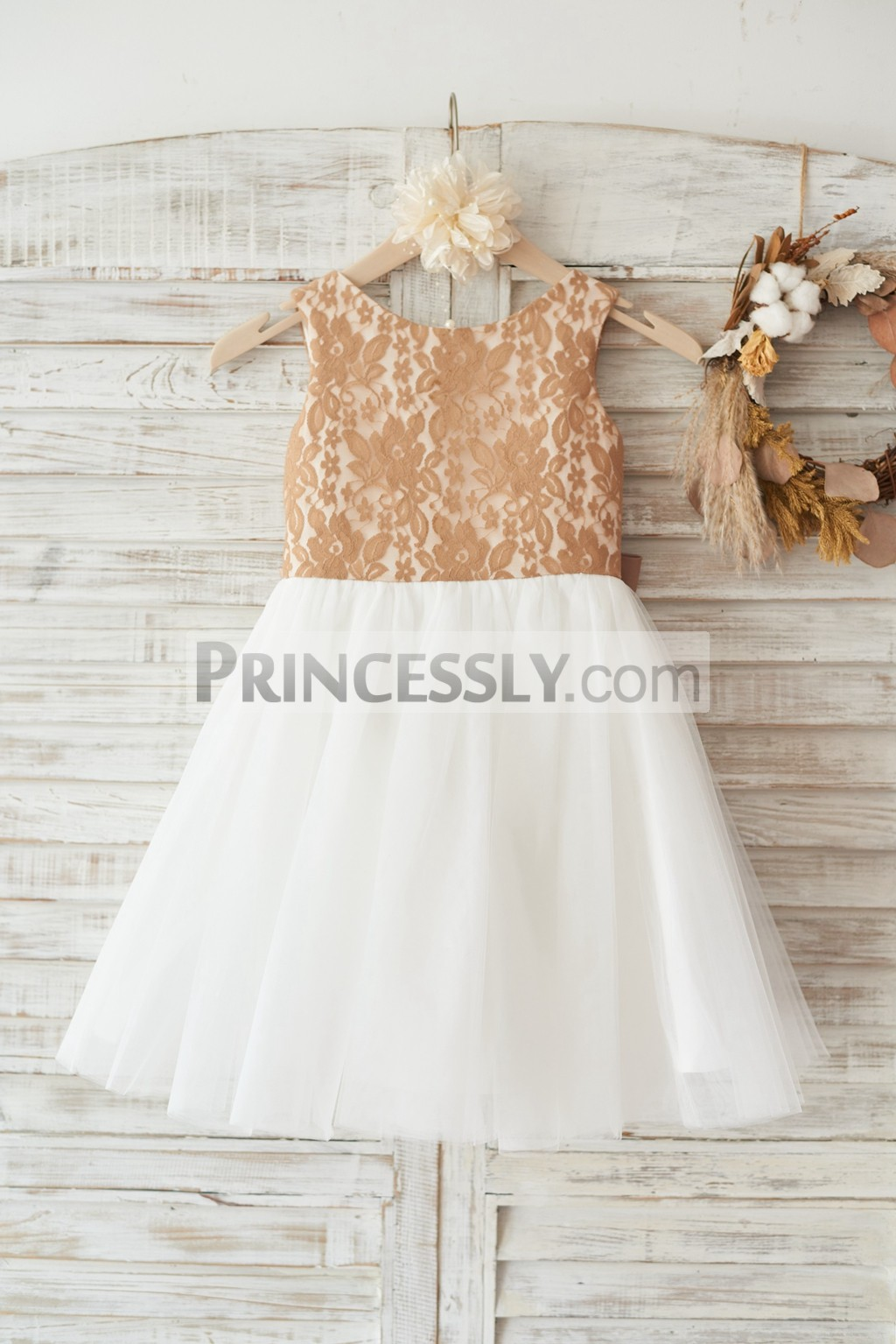251269cbc5b Champagne Gold Lace Ivory Tulle Flower Girl Dress with Deep V Back ...
