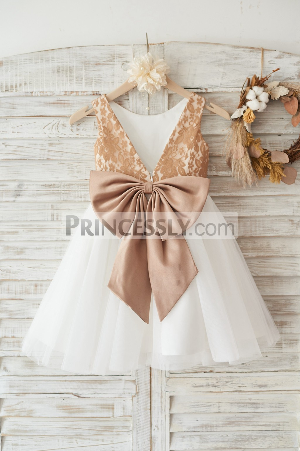 Champagne Gold Lace Ivory Tulle Flower Girl Dress With