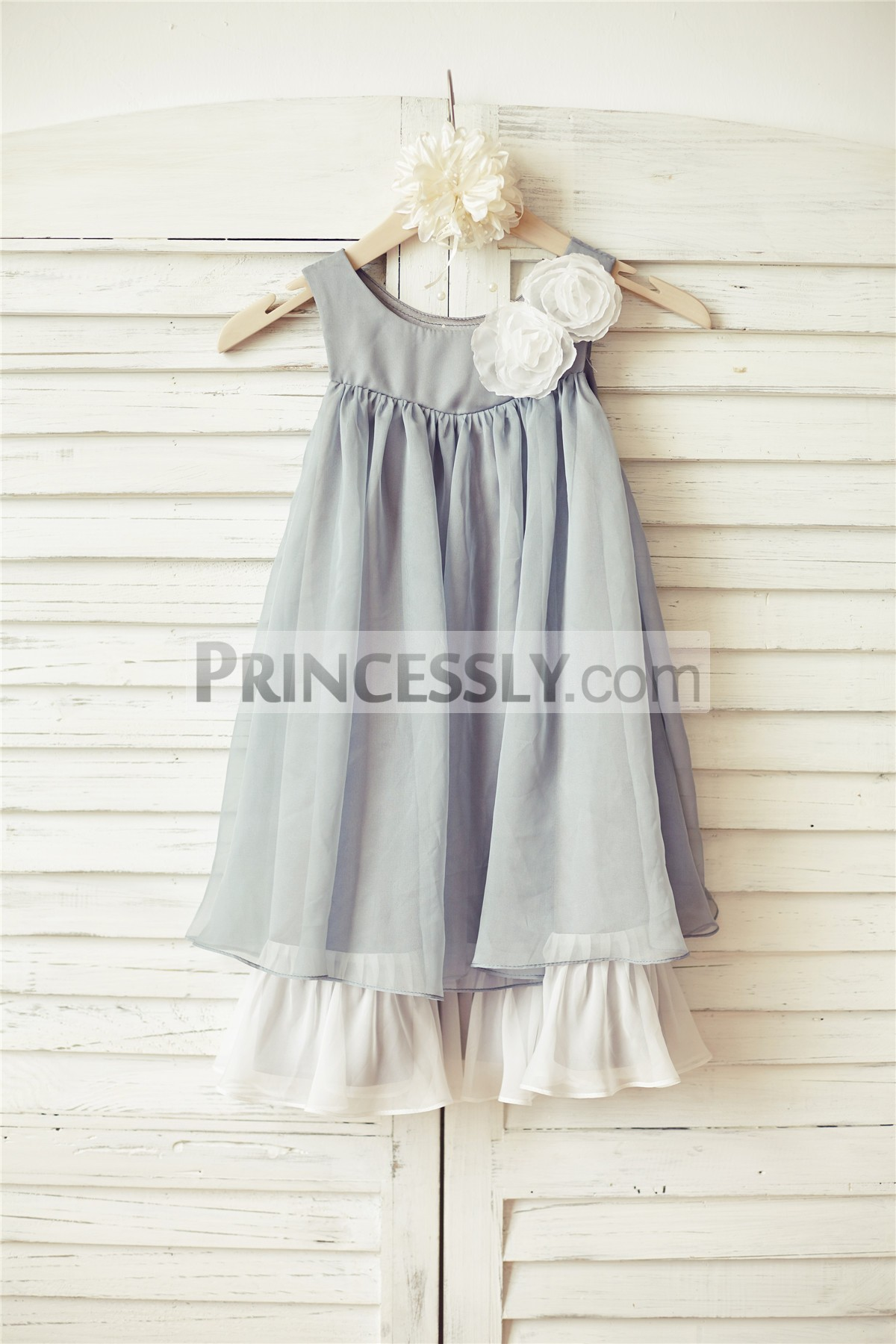 Boho style grey chiffon flower girl dress with flowers