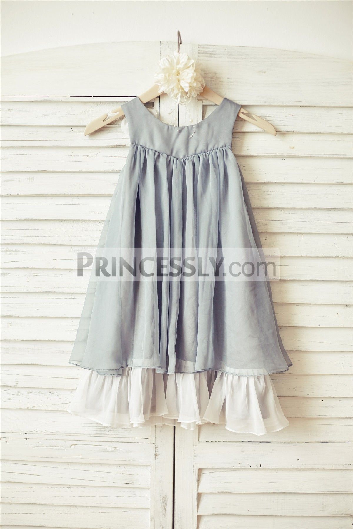 Grey chiffon with ivory lining pleated wedding baby girl dress