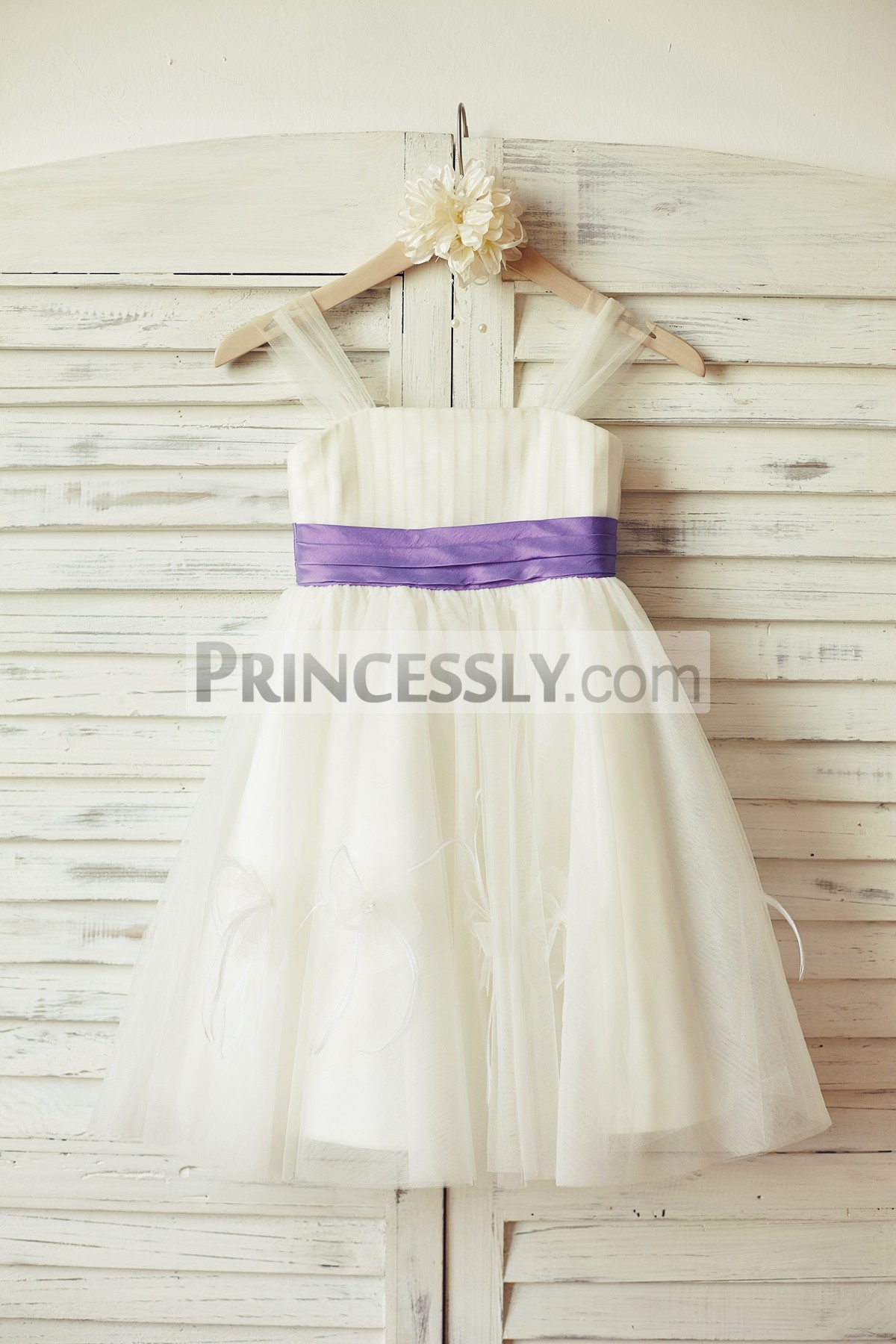 Sheer thin straps ivory tulle wedding baby girl dress