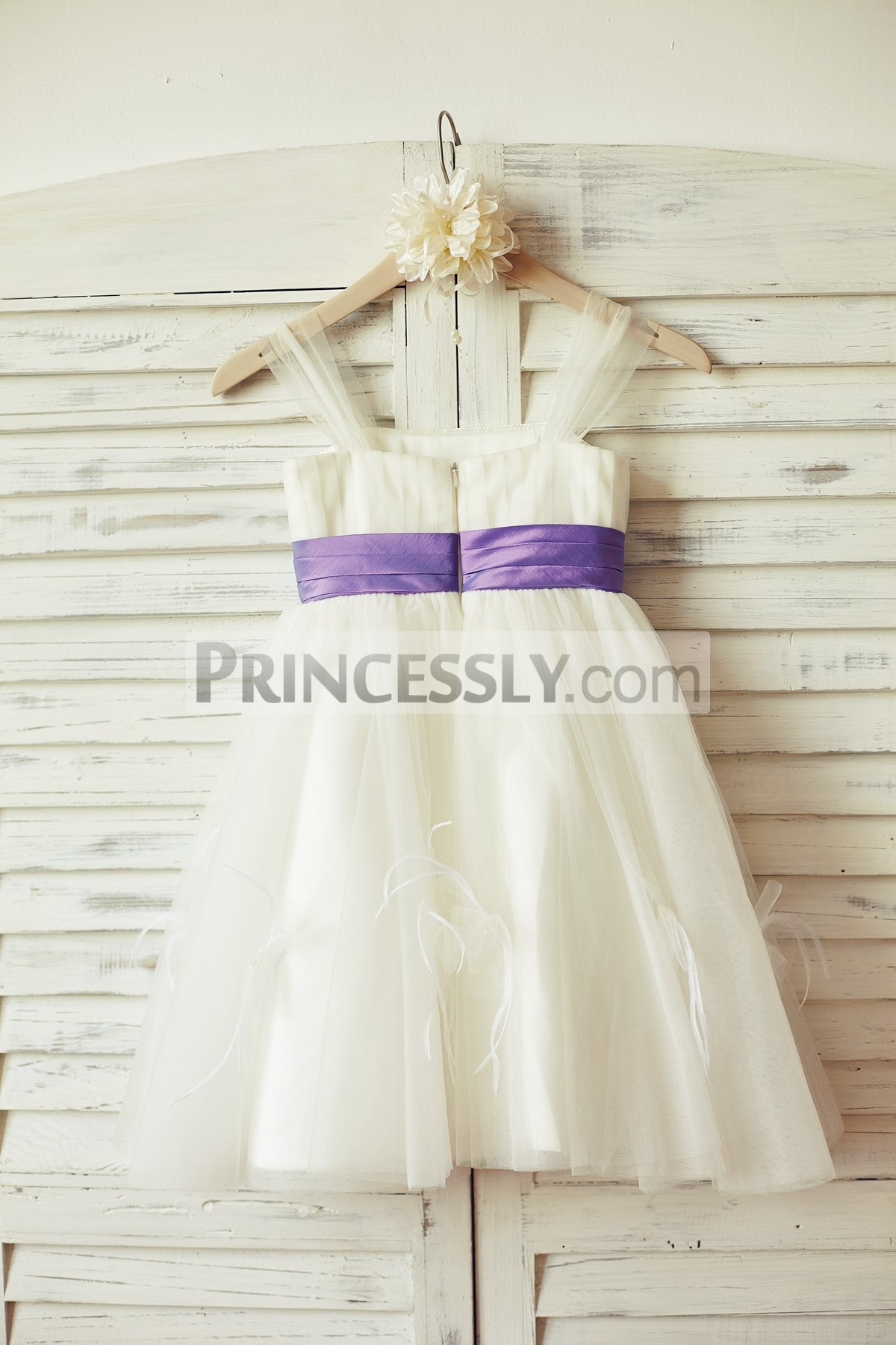 Ivory tulle flower girl dress with lavender sash & feathers & flowers