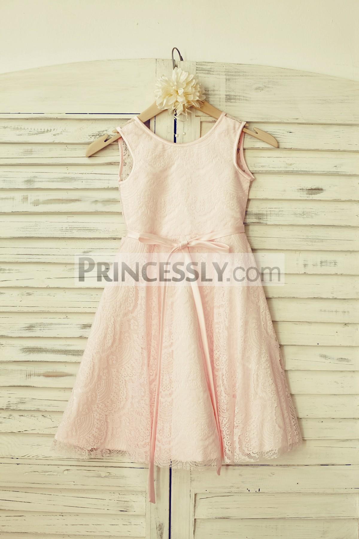Ivory lace blush pink lining flower girl dress with sash