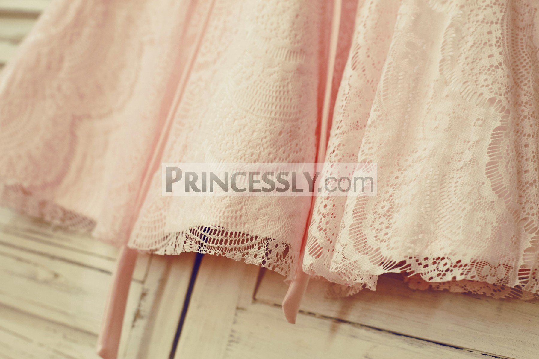 Eyelash lace overlay blush pink lining skirt