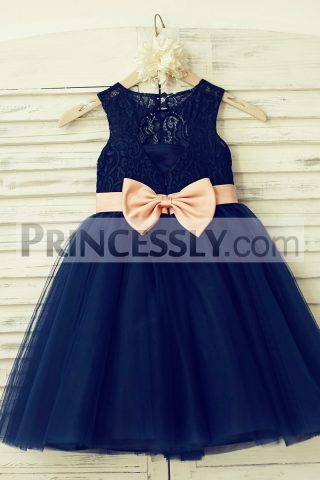 Princessly.com-K1000130-Navy-Blue-Lace-Tulle-Flower-Girl-Dress-Keyhole-Back-with-Blush-Pink-Bow-Belt-32