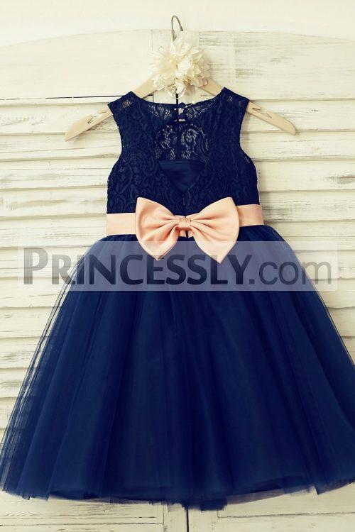 Flower girl dresses navy lace