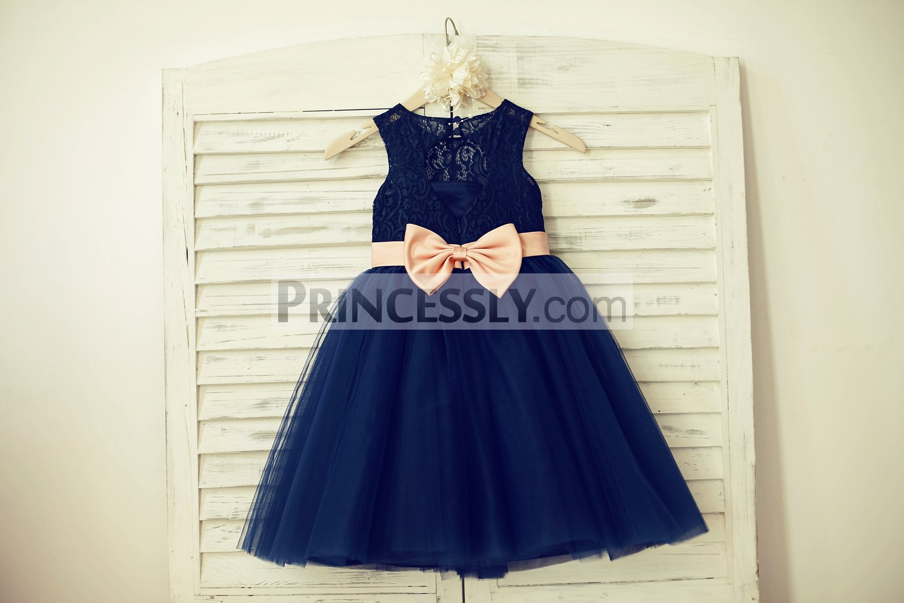 Navy blue lace tulle wedding baby girl dress with blush pink belt