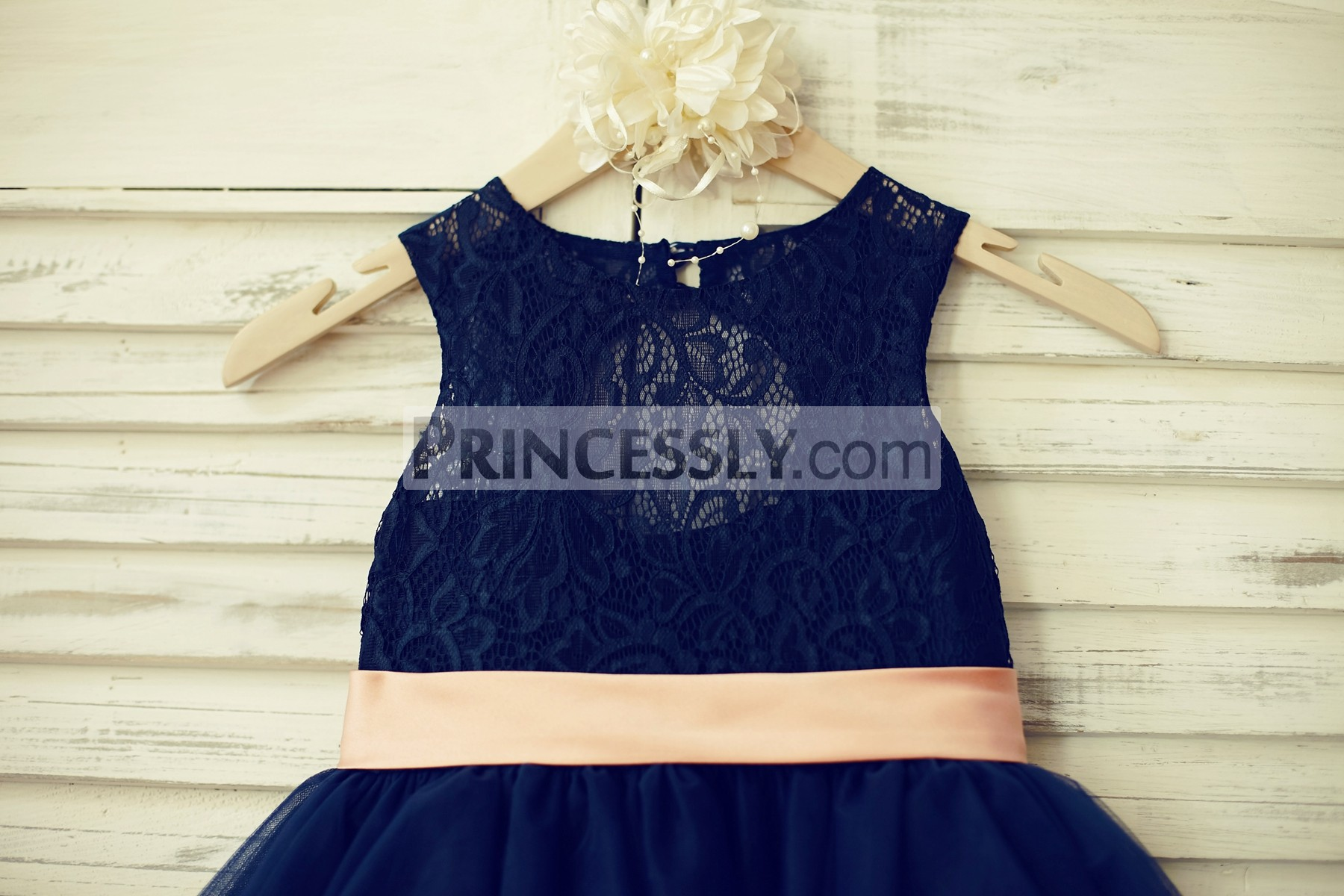 Navy blue lace bodice with blush pink belt