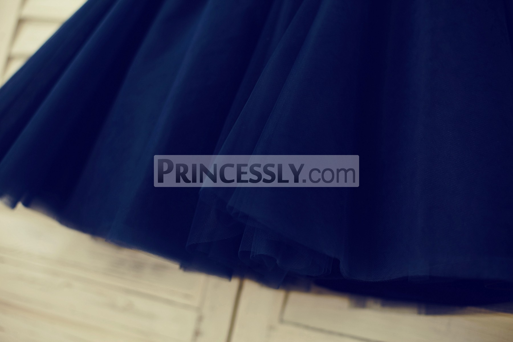Navy blue tulle layered skirt