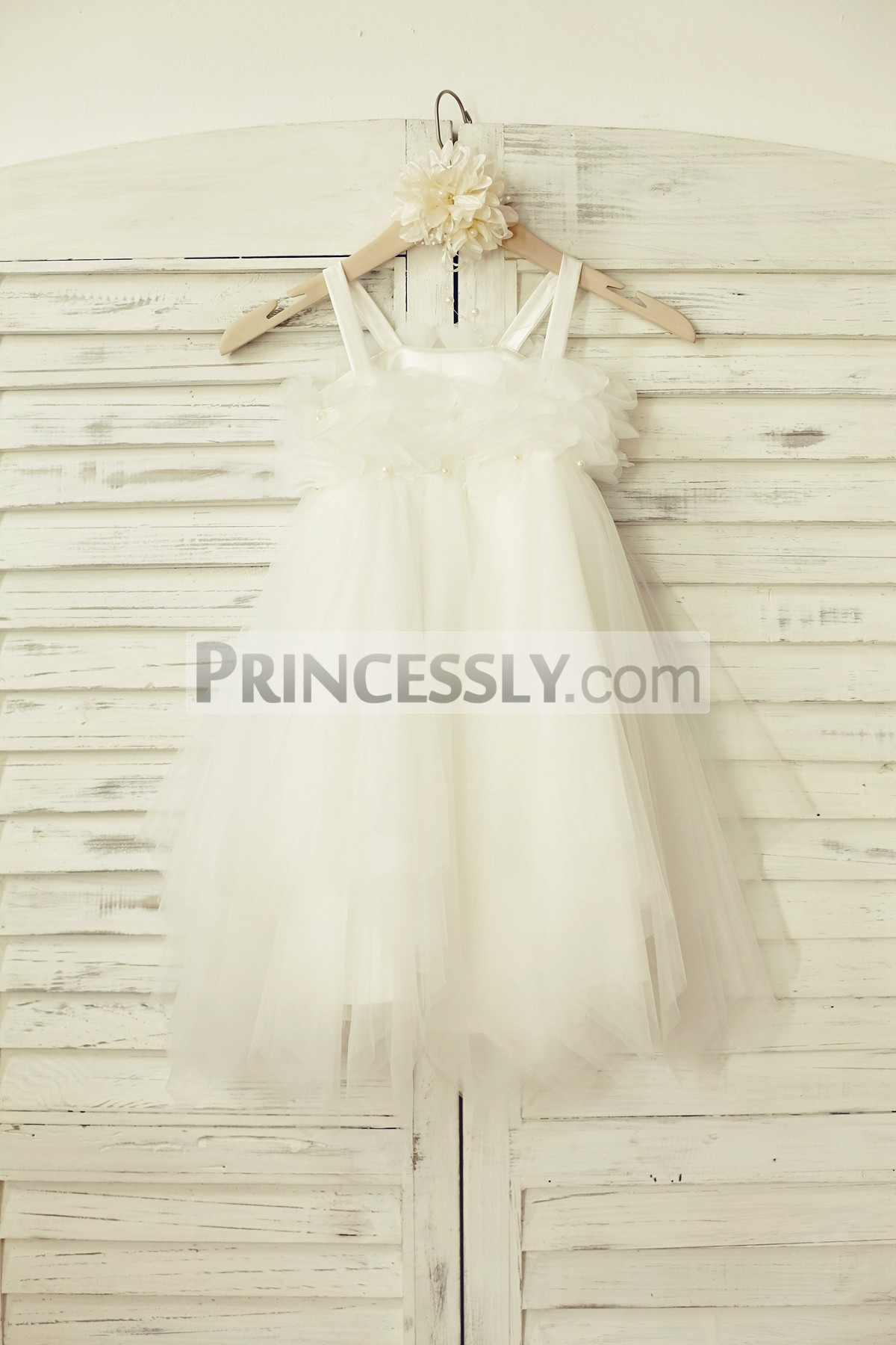 Satin thin straps beaded flowers ivory tulle wedding baby girl dress