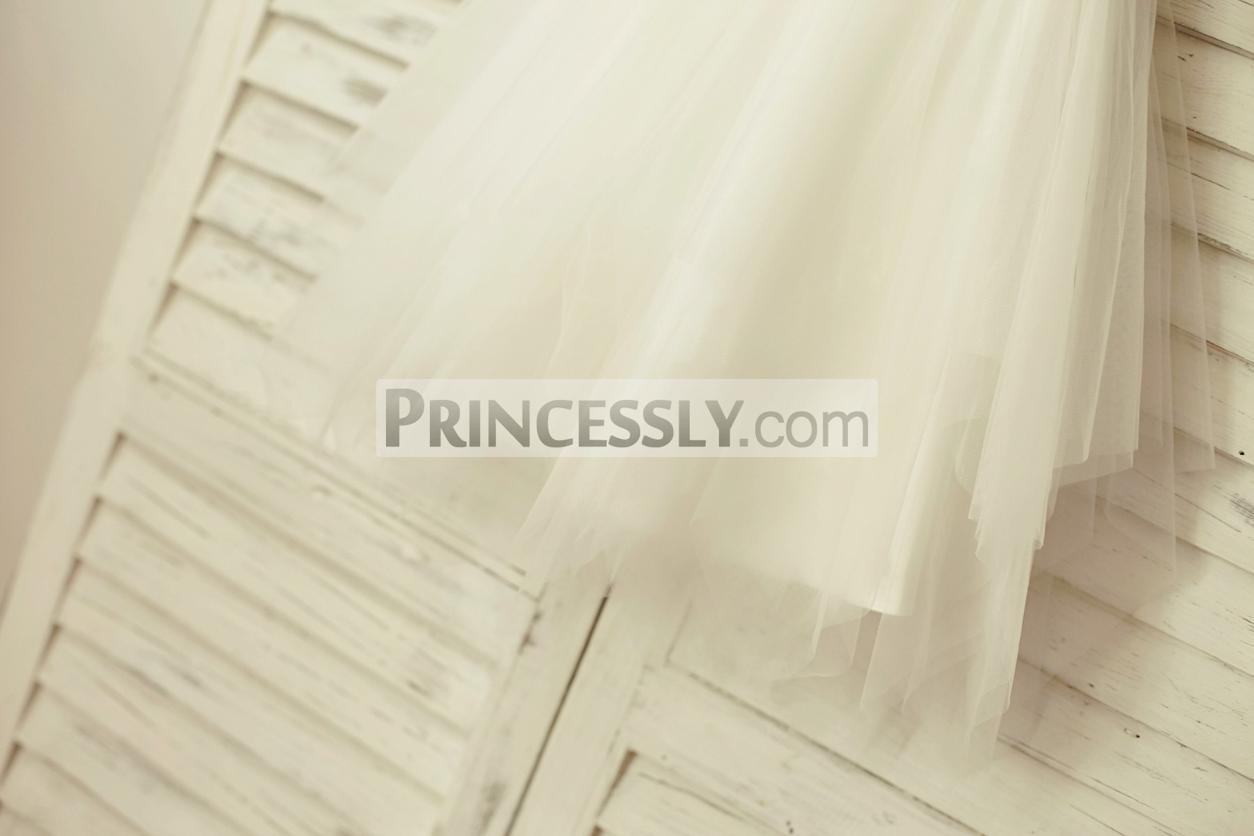 Uneven ivory tulle skirt